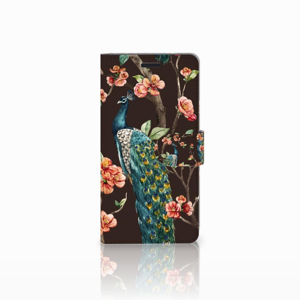 Samsung Galaxy A7 2015 Boekhoesje Design Pauw met Bloemen
