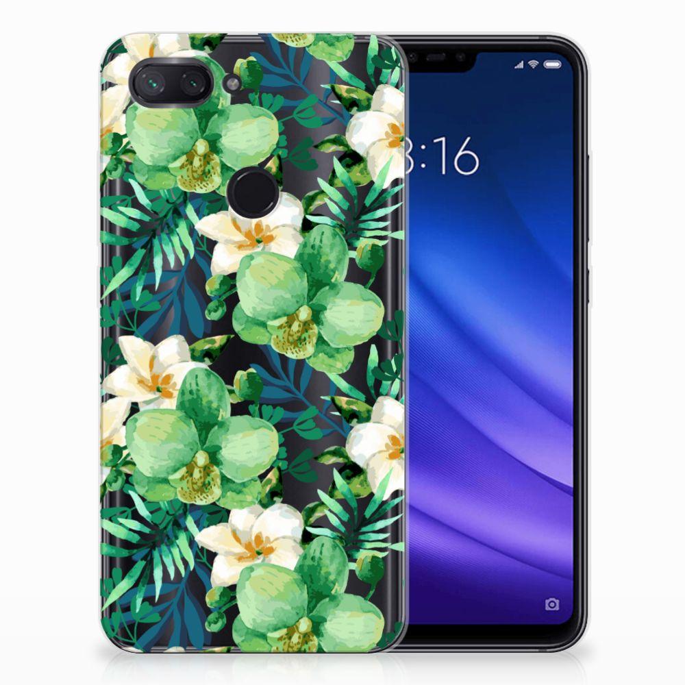 Xiaomi Mi 8 Lite Uniek TPU Hoesje Orchidee Groen