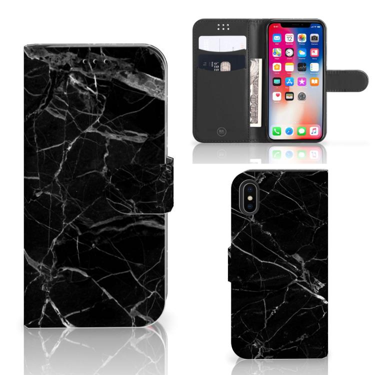 Apple iPhone X | Xs Bookcase Marmer Zwart