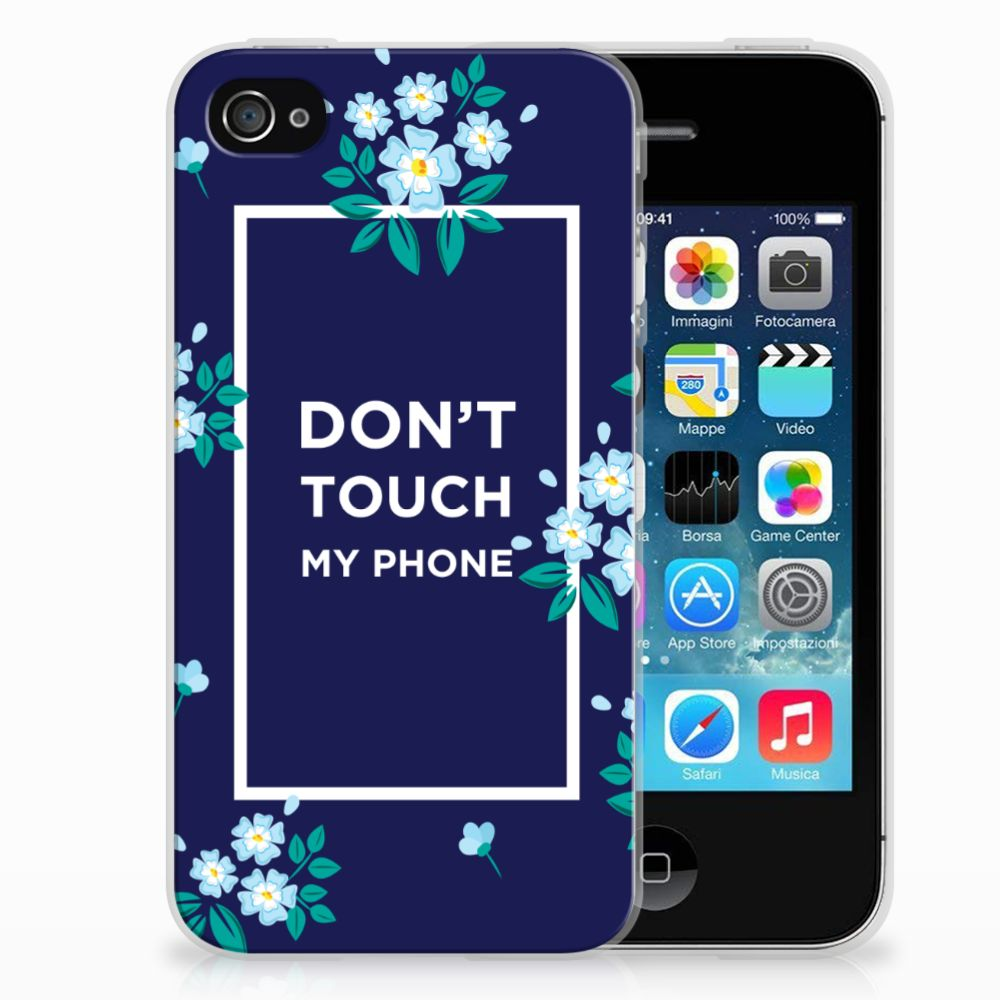 Apple iPhone 4 | 4s Silicone-hoesje Flowers Blue DTMP