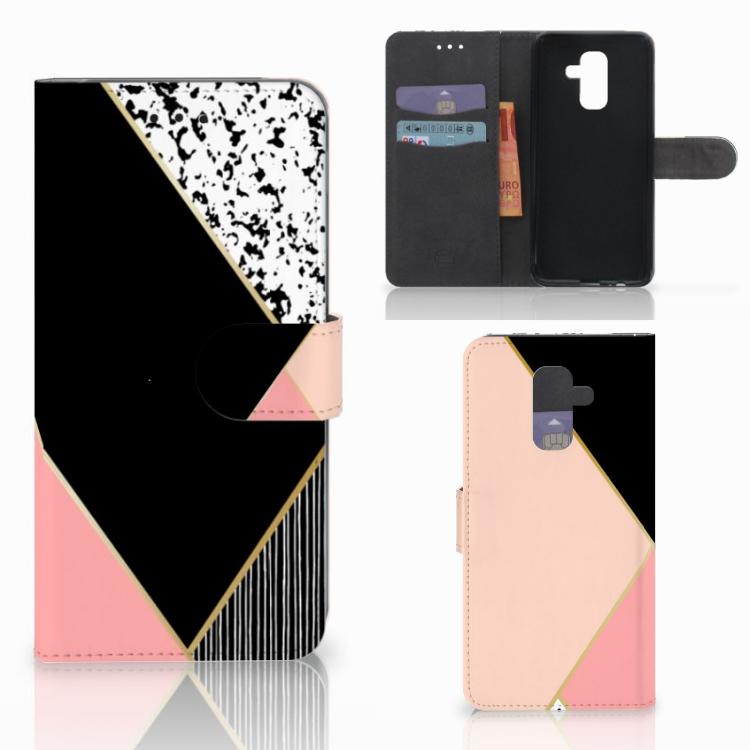 Samsung Galaxy A6 Plus 2018 Bookcase Zwart Roze Vormen