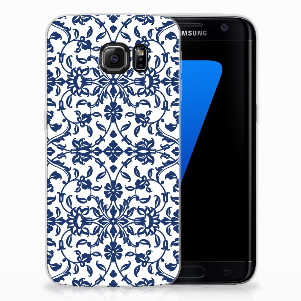 Samsung Galaxy S7 Edge Uniek TPU Hoesje Flower Blue