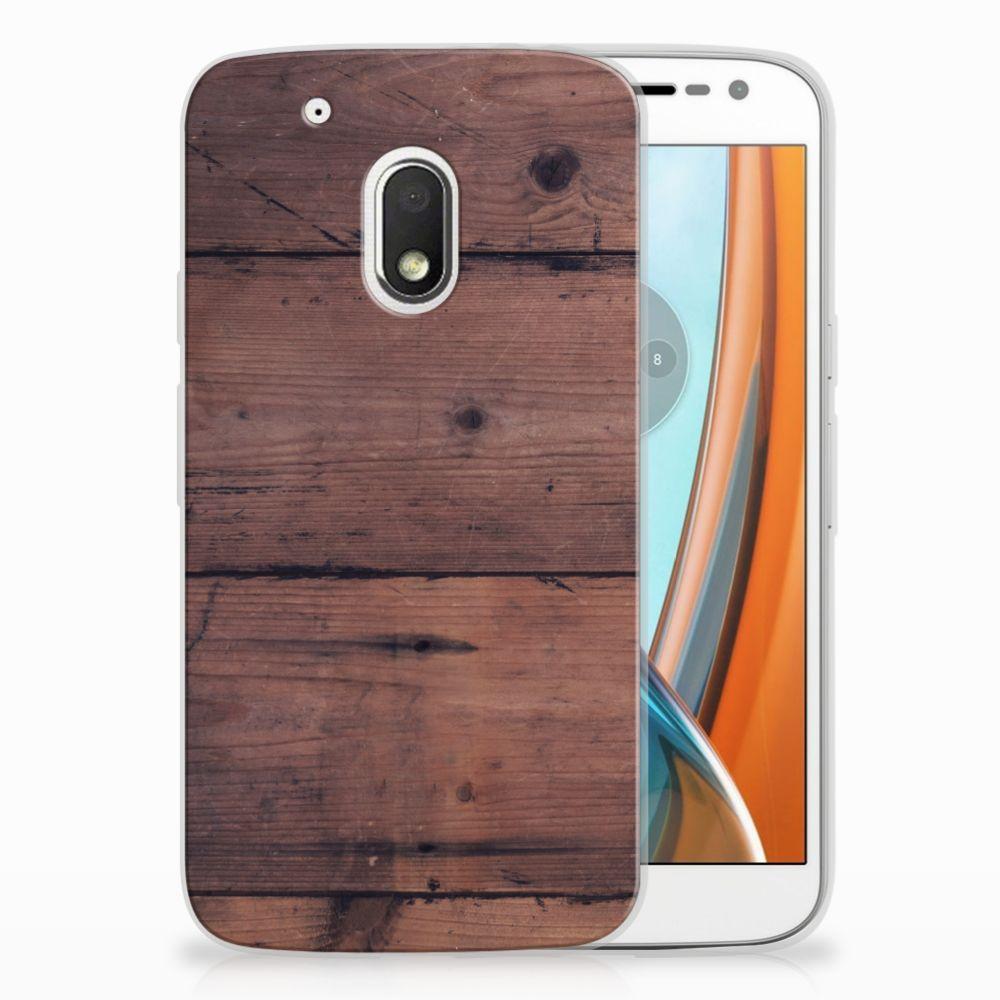 Motorola Moto G4 Play Uniek TPU Hoesje Old Wood