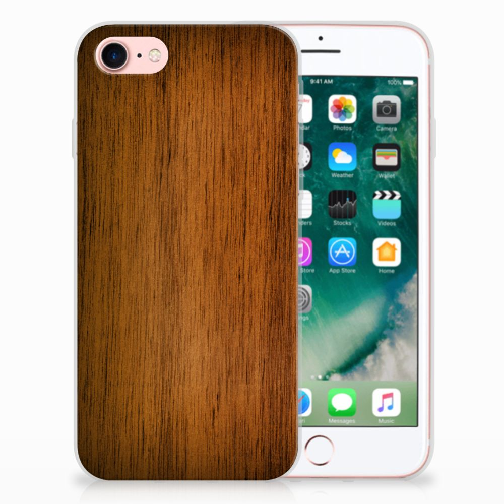 Apple iPhone 7 | 8 Bumper Hoesje Donker Hout