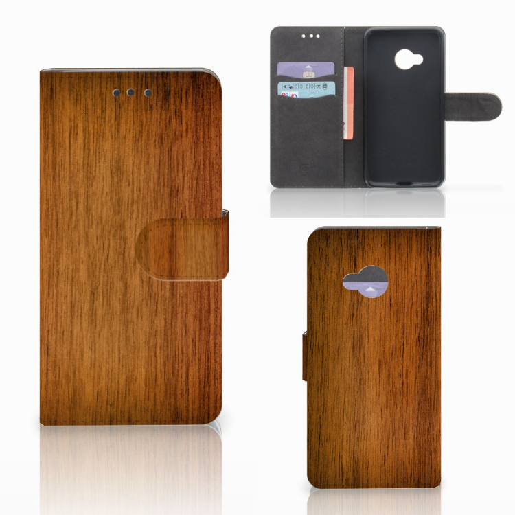 HTC U Play Book Style Case Donker Hout