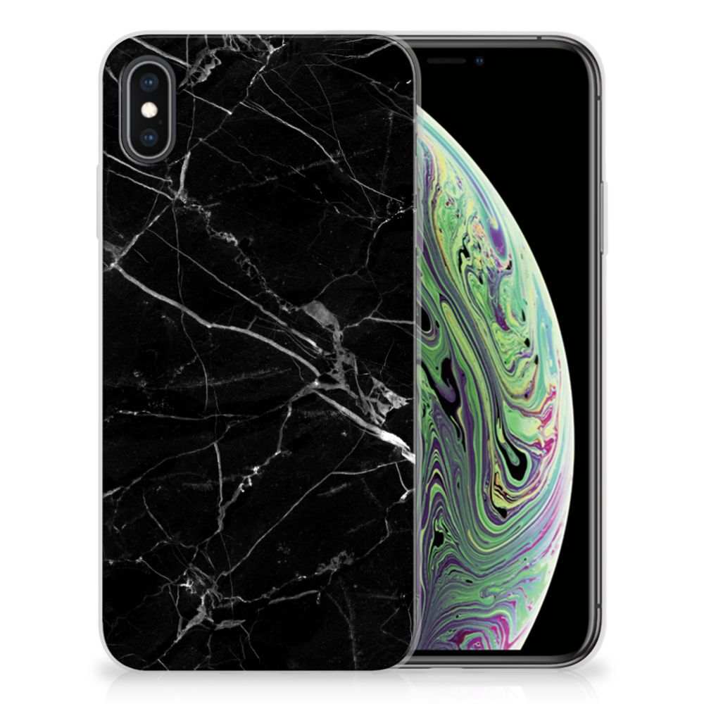 Apple iPhone Xs Max TPU Siliconen Hoesje Marmer Zwart