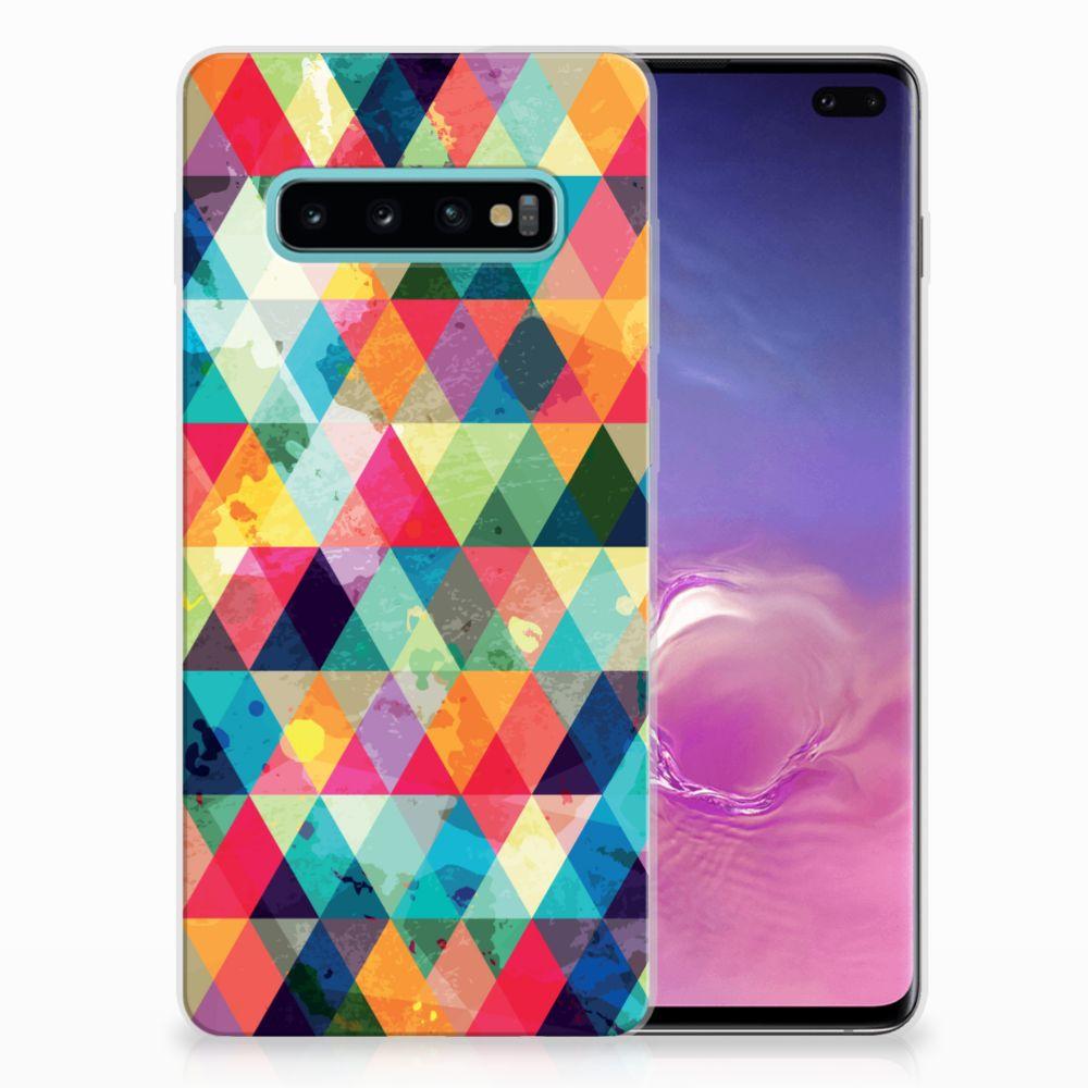 Samsung Galaxy S10 Plus Uniek TPU Hoesje Geruit