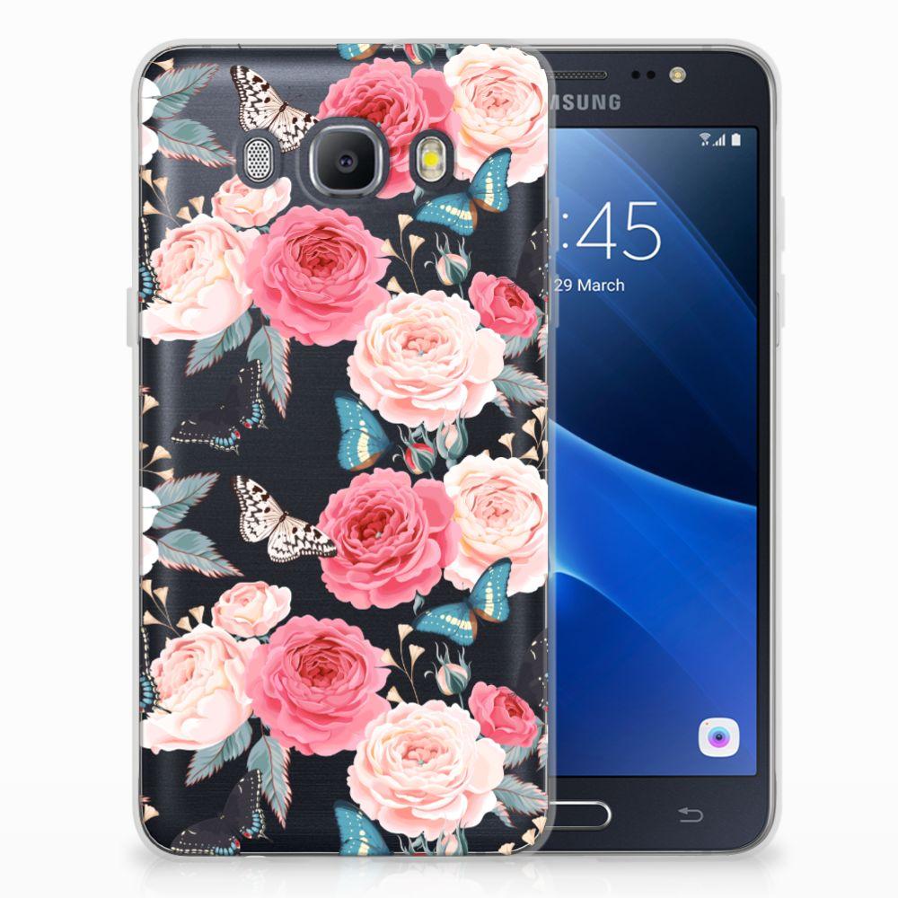 Samsung Galaxy J5 2016 Uniek TPU Hoesje Butterfly Roses