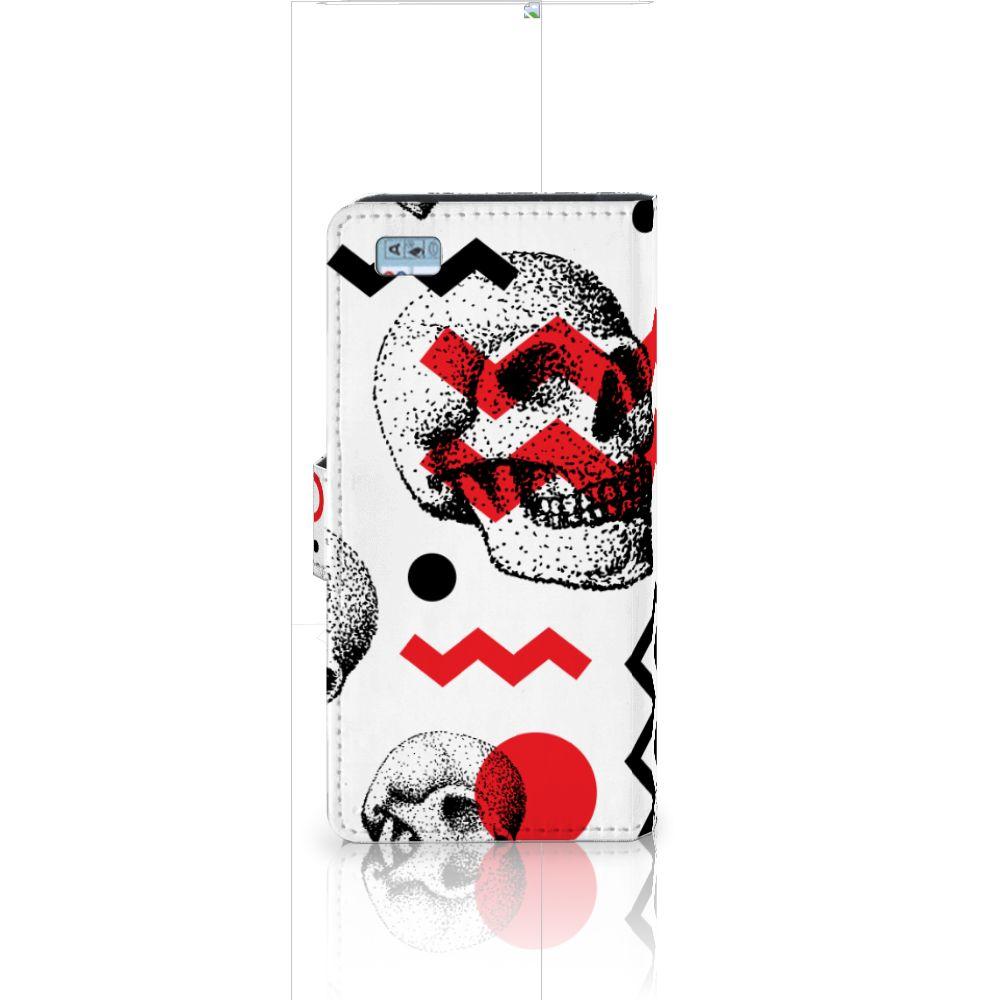 Telefoonhoesje met Naam Huawei Ascend P8 Lite Skull Red