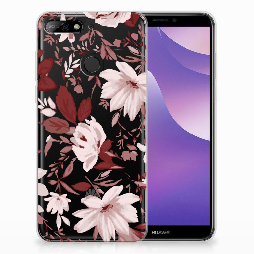 Huawei Y6 (2018) Uniek TPU Hoesje Watercolor Flowers