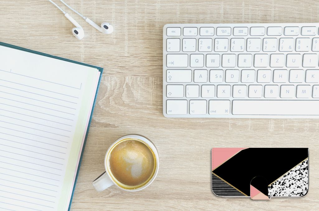 Apple iPhone 6 | 6s Uniek Boekhoesje Black Pink Shapes