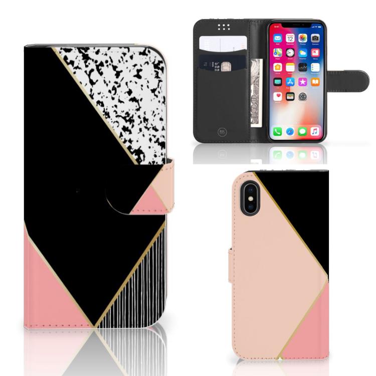 Apple iPhone X | Xs Bookcase Zwart Roze Vormen