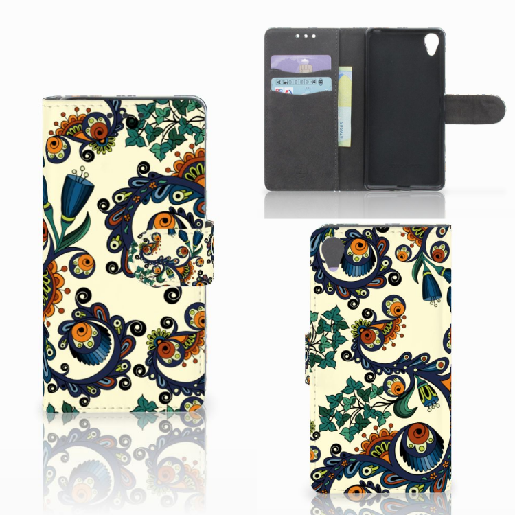 Wallet Case Sony Xperia X Barok Flower