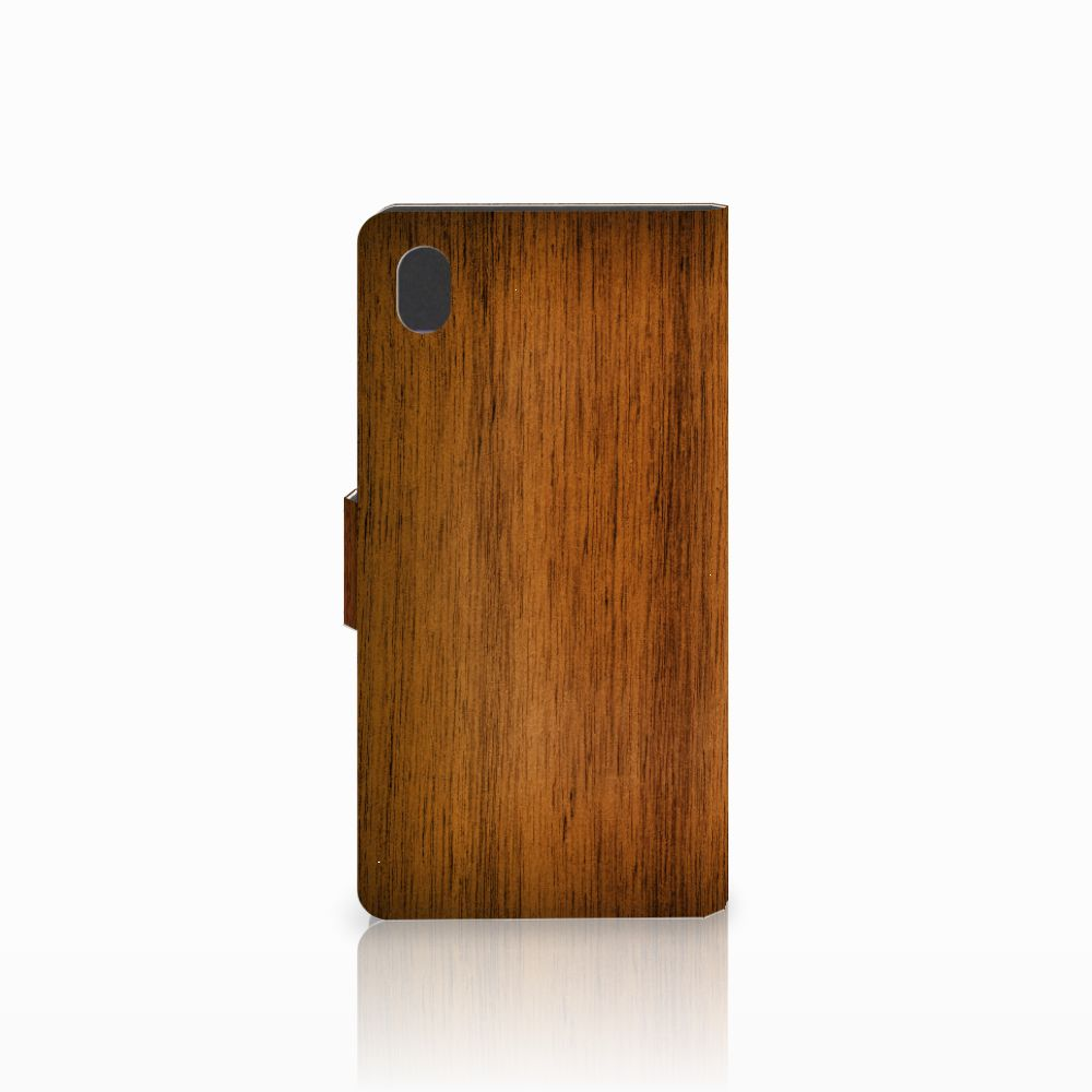 Sony Xperia M4 Aqua Book Style Case Donker Hout