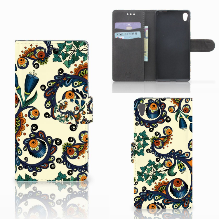 Wallet Case Sony Xperia E5 Barok Flower