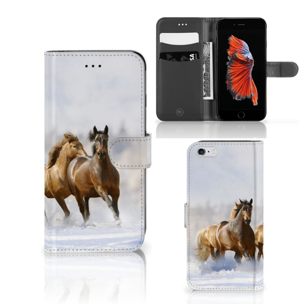 Apple iPhone 6 Plus | 6s Plus Telefoonhoesje met Pasjes Paarden