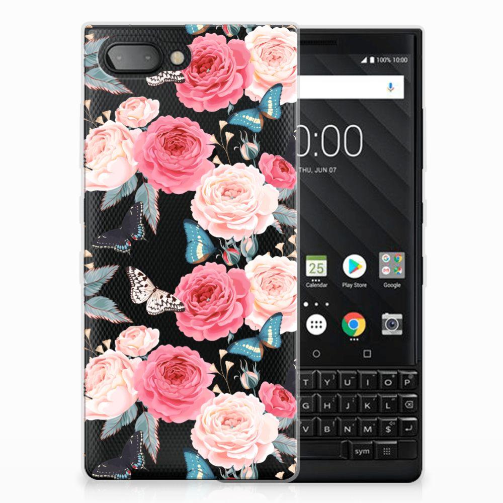 BlackBerry Key2 Uniek TPU Hoesje Butterfly Roses