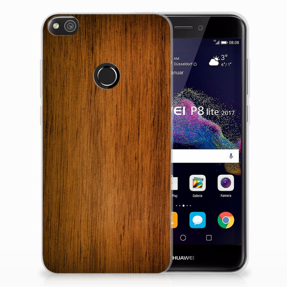 Huawei P8 Lite 2017 Uniek TPU Hoesje Donker Hout