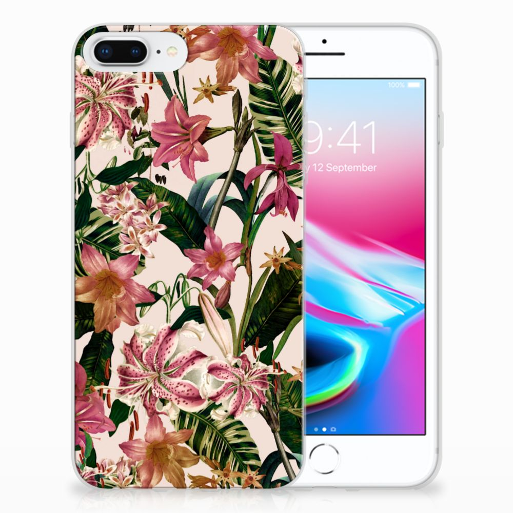 Apple iPhone 7 Plus | 8 Plus Uniek TPU Hoesje Flowers