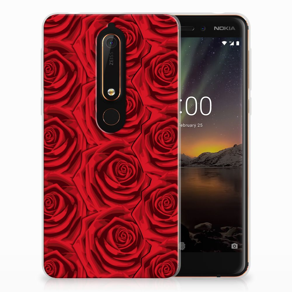 Nokia 6 (2018) Uniek TPU Hoesje Red Roses