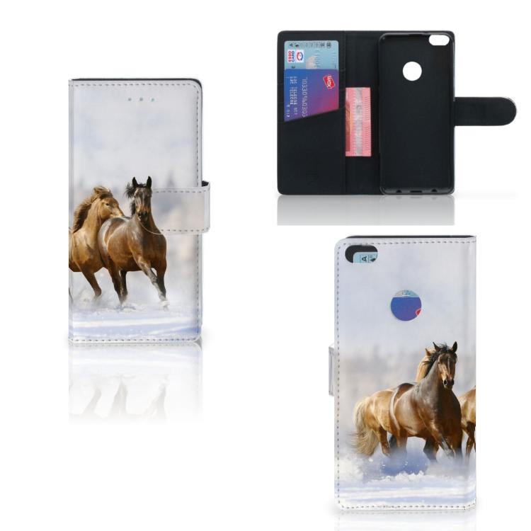 Huawei P8 Lite 2017 Telefoonhoesje met Pasjes Paarden
