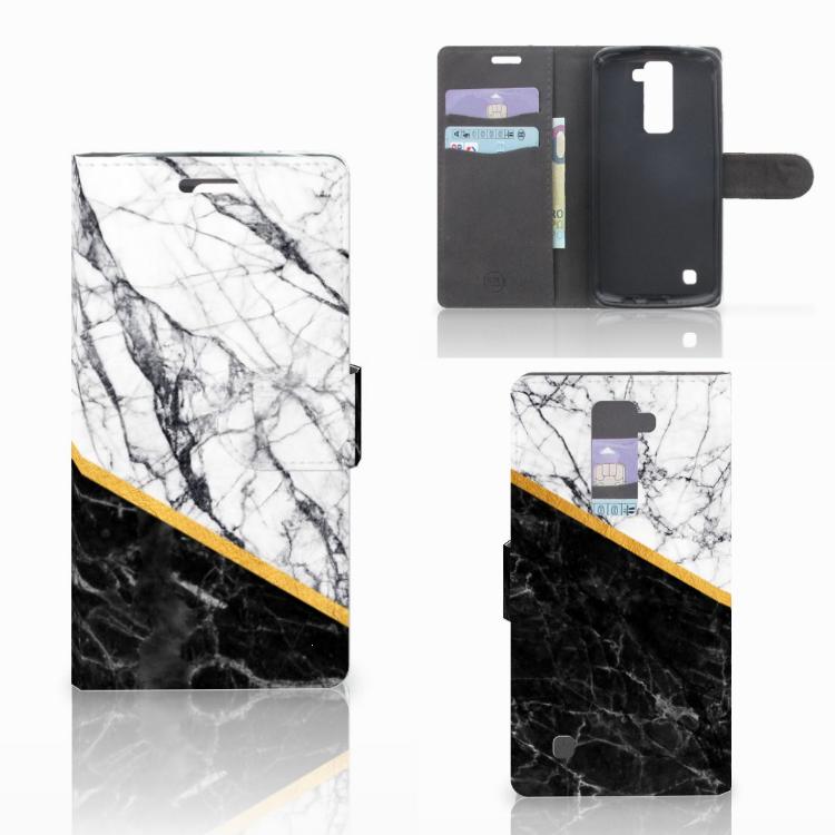 LG K10 2015 Bookcase Marmer Wit Zwart - Origineel Cadeau Man