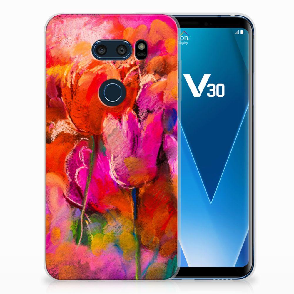LG V30 TPU Hoesje Design Tulips