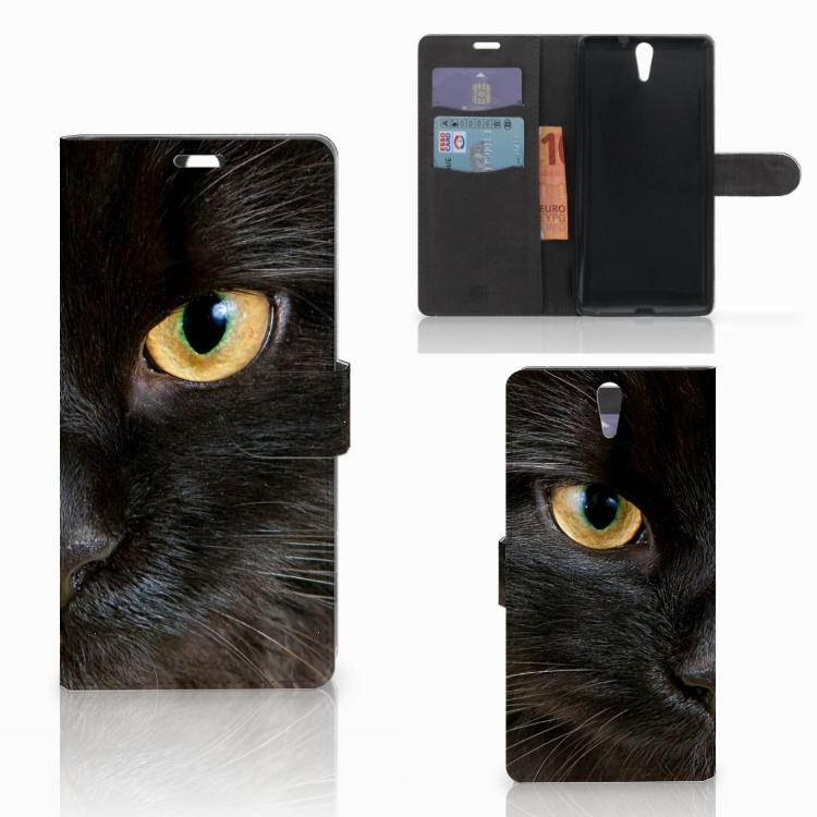 Sony Xperia C5 Ultra Telefoonhoesje met Pasjes Zwarte Kat