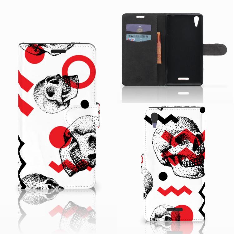Telefoonhoesje met Naam Sony Xperia T3 Skull Red