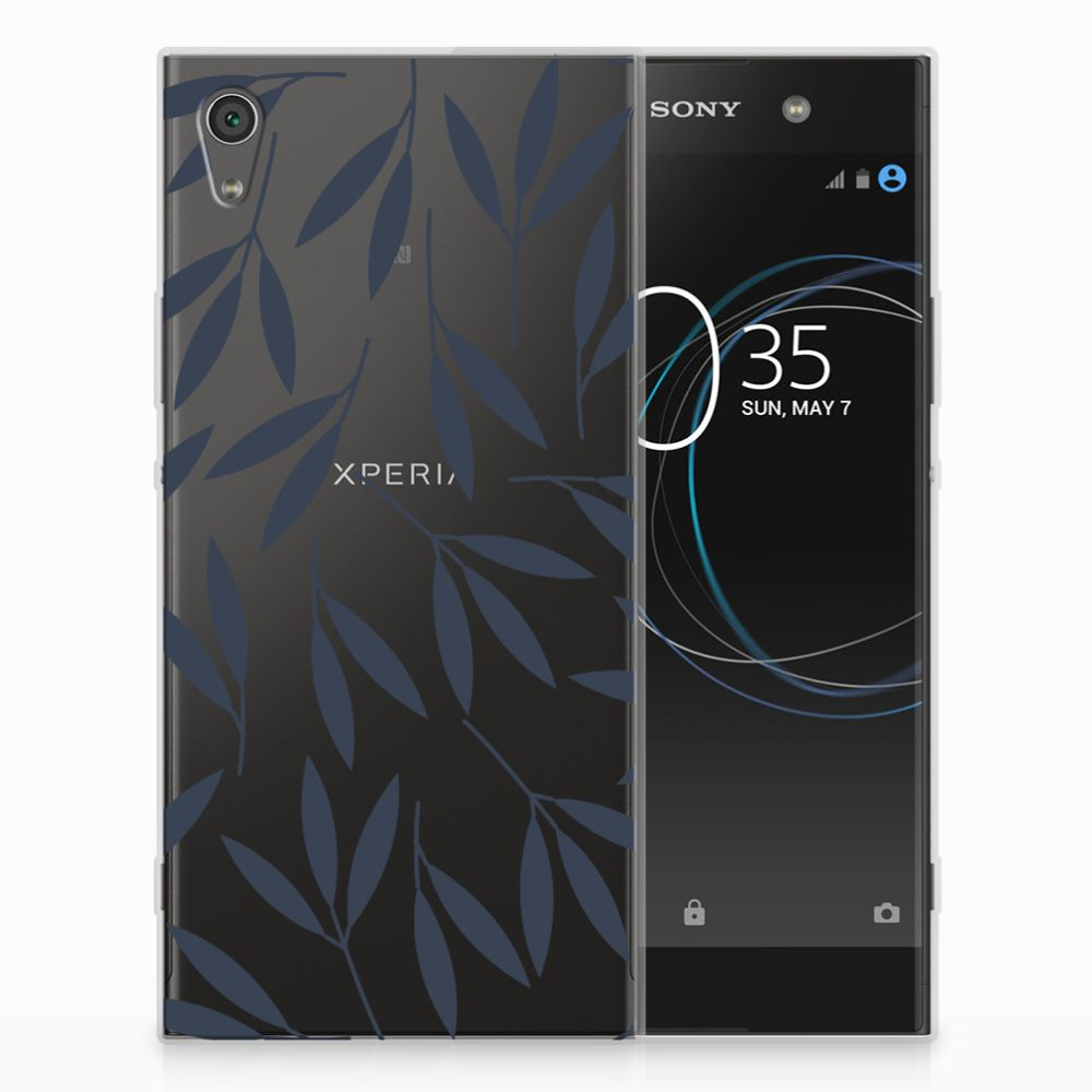 Sony Xperia XA1 Ultra TPU Hoesje Design Leaves Blue