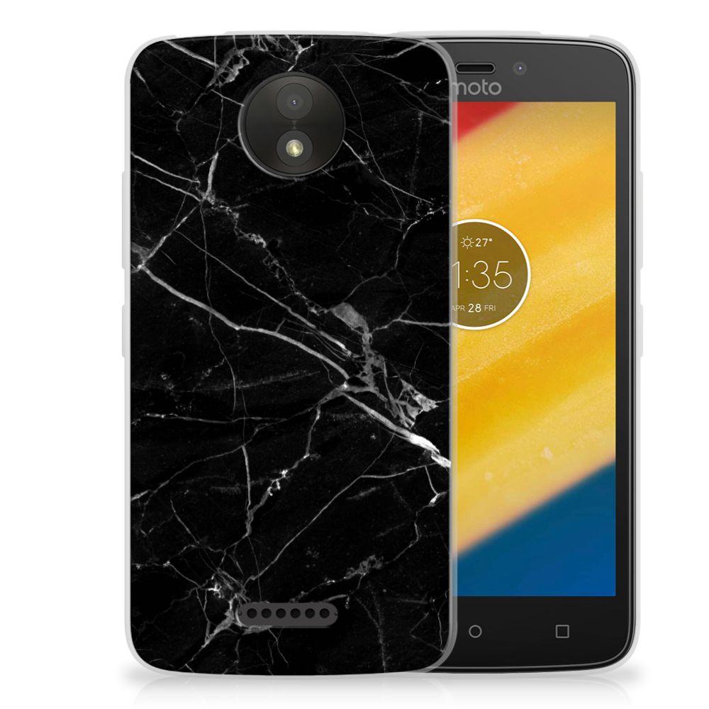 Motorola Moto C Plus Uniek TPU Hoesje Marmer Zwart