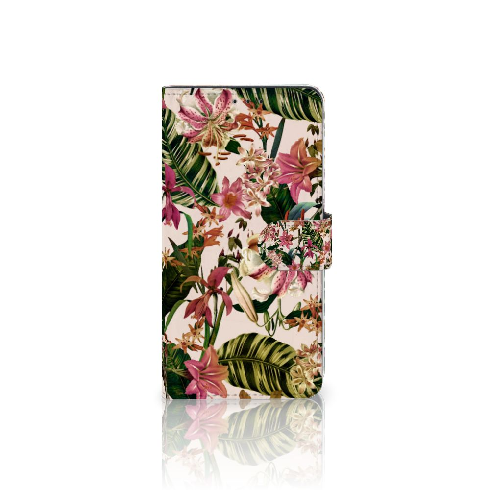 Samsung Galaxy A8 Plus (2018) Uniek Boekhoesje Flowers