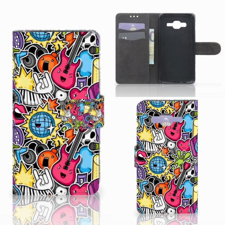 Samsung Galaxy J5 (2015) Wallet Case met Pasjes Punk Rock