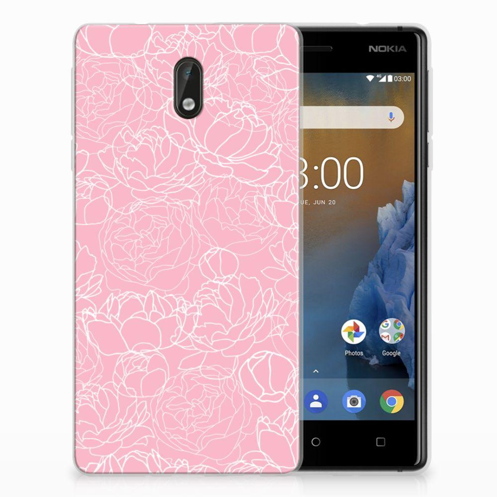 Nokia 3 Siliconen Hoesje White Flowers