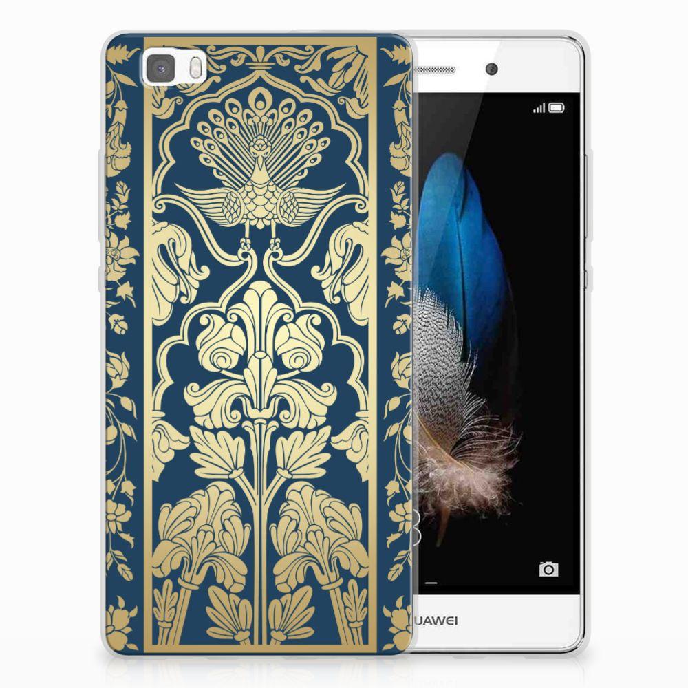 Huawei Ascend P8 Lite Uniek TPU Hoesje Golden Flowers