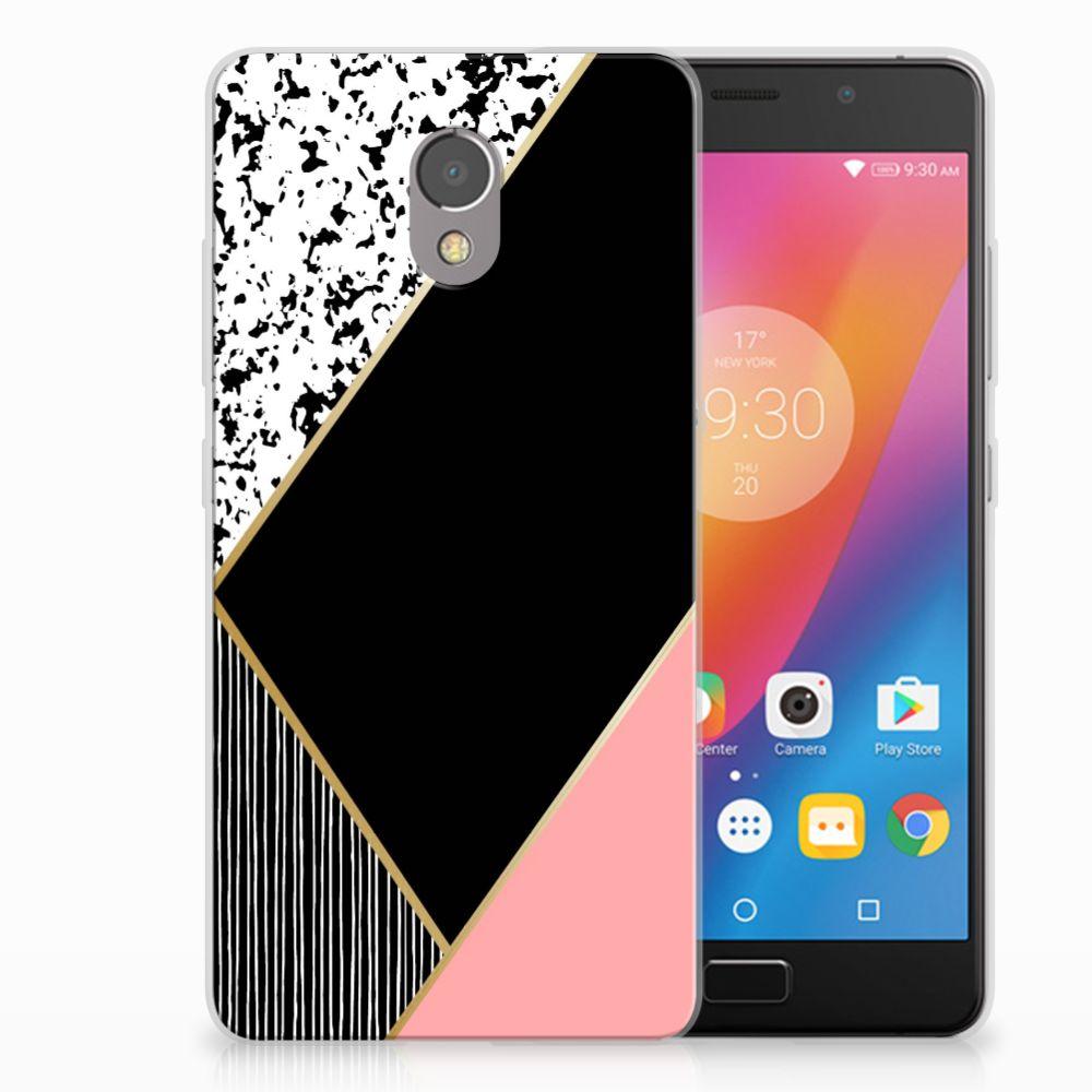 Lenovo P2 Uniek TPU Hoesje Black Pink Shapes