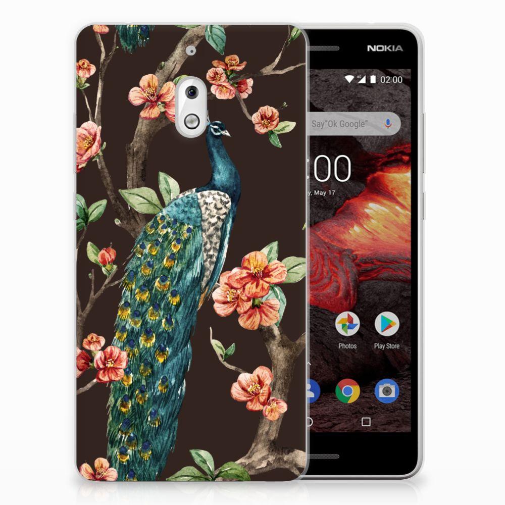 Nokia 2.1 (2018) TPU Hoesje Pauw met Bloemen