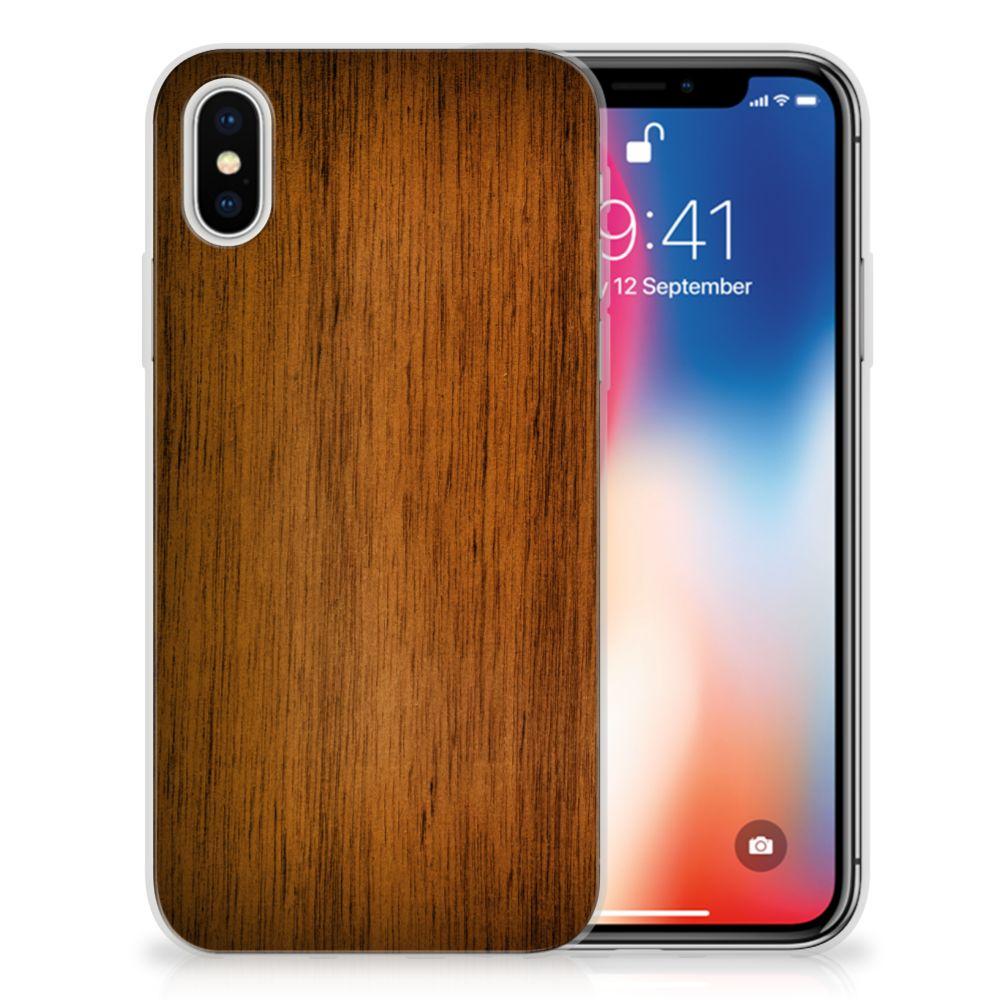 Apple iPhone X   Xs Bumper Hoesje Donker Hout