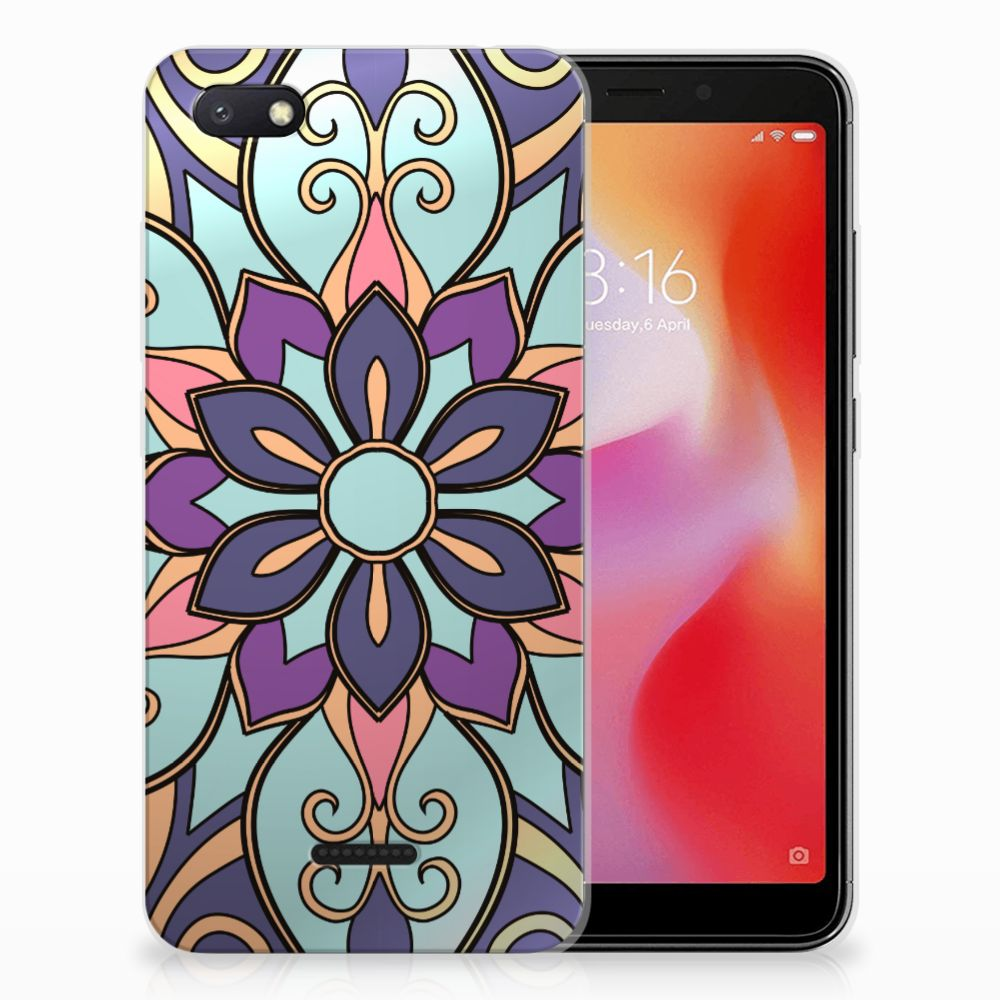 Xiaomi Redmi 6A TPU Hoesje Design Purple Flower