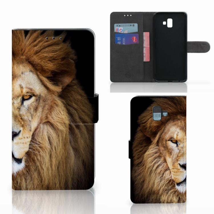 Samsung Galaxy J6 Plus (2018) Telefoonhoesje met Pasjes Leeuw
