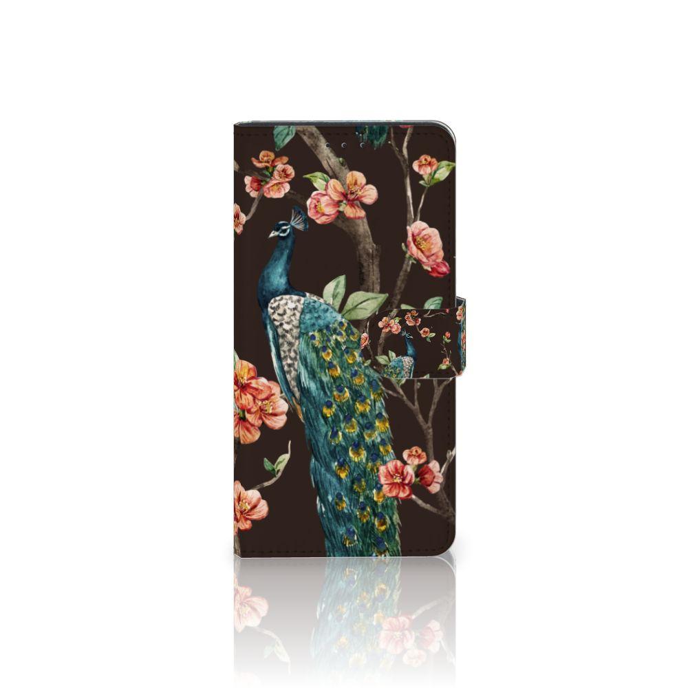 Motorola Moto Z Play Boekhoesje Design Pauw met Bloemen