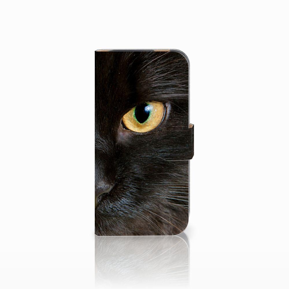 HTC One M8 Uniek Boekhoesje Zwarte Kat