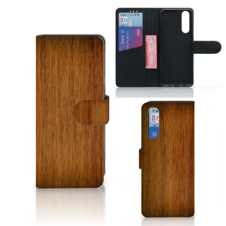 Sony Xperia 5 Book Style Case Donker Hout