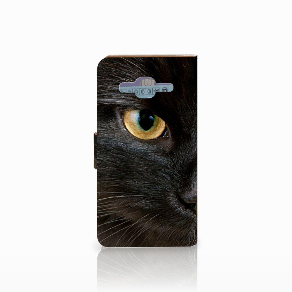 Samsung Galaxy J2 2016 Telefoonhoesje met Pasjes Zwarte Kat