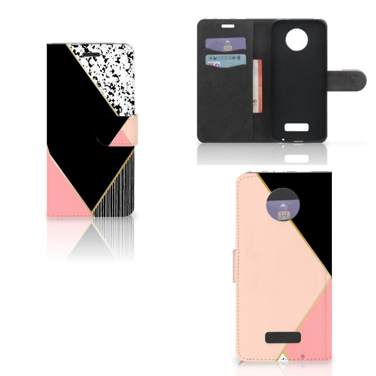 Motorola Moto Z Bookcase Zwart Roze Vormen