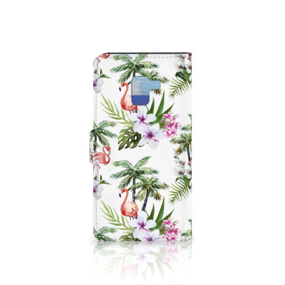 Samsung Galaxy A8 Plus (2018) Telefoonhoesje met Pasjes Flamingo Palms