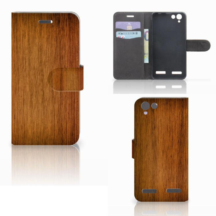 Lenovo Vibe K5 Book Style Case Donker Hout