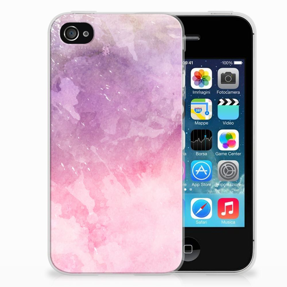 Apple iPhone 4 | 4s TPU Hoesje Design Pink Purple Paint
