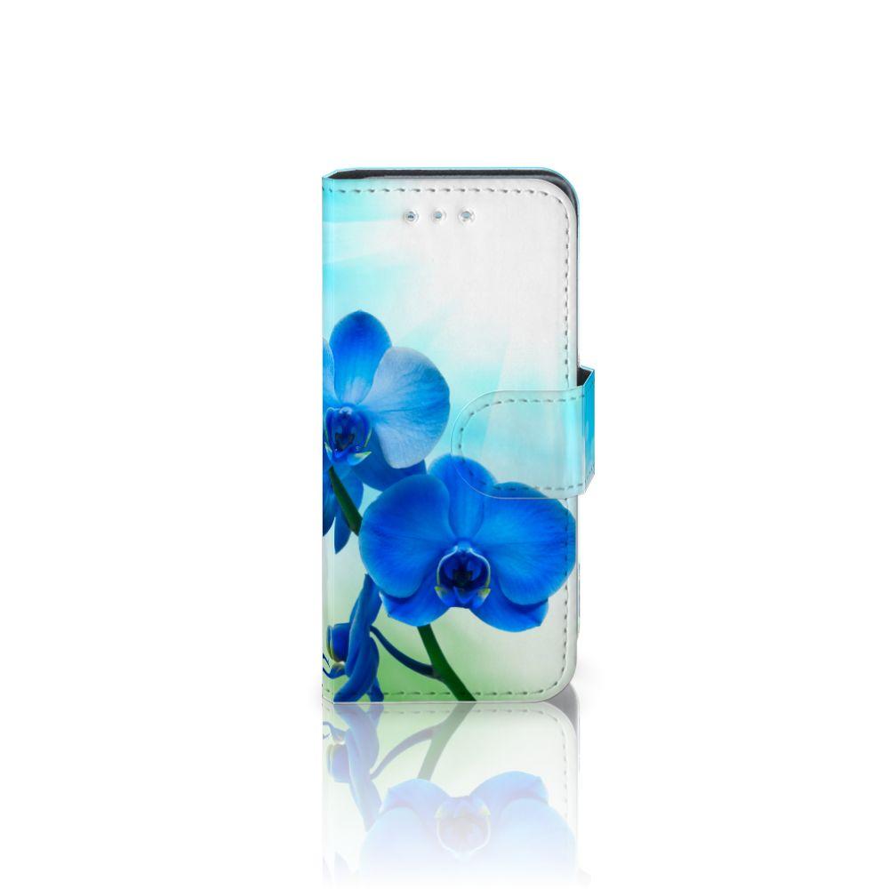 Samsung Galaxy S4 Mini i9190 Boekhoesje Design Orchidee Blauw