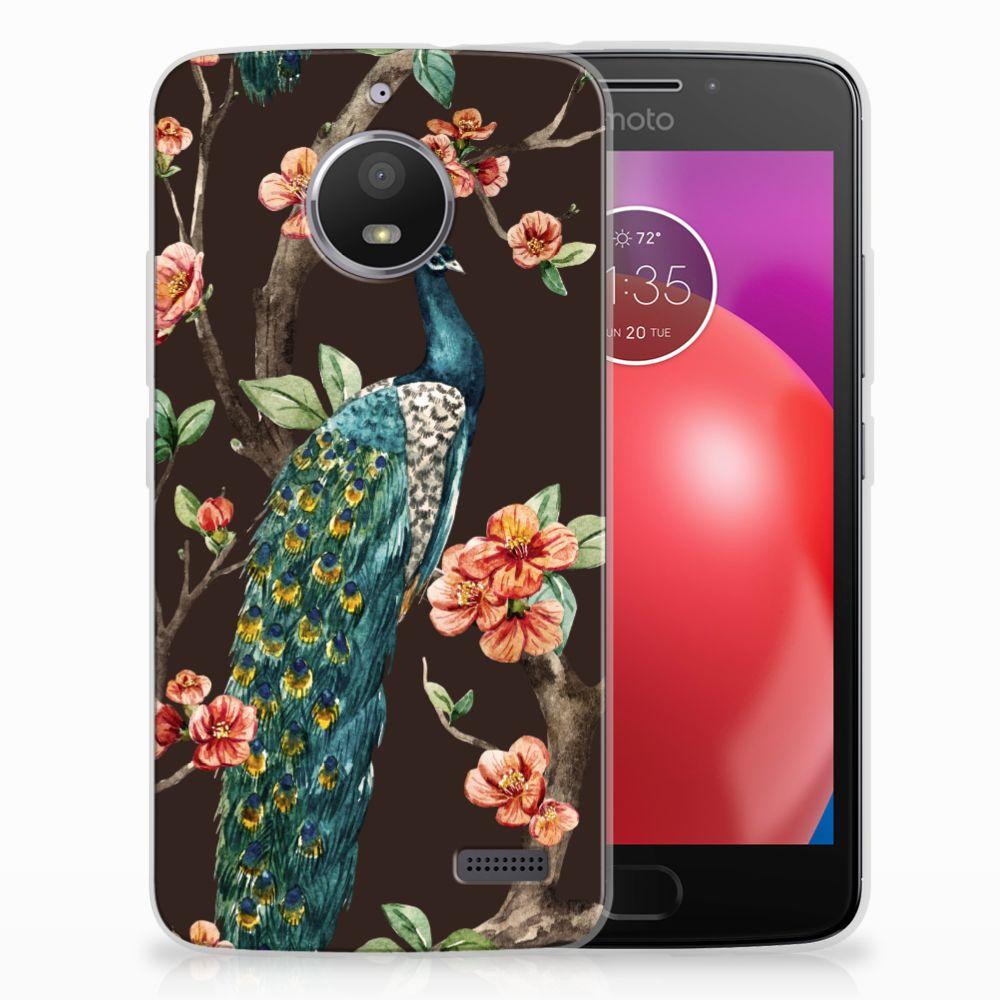 Motorola Moto E4 TPU Hoesje Design Pauw met Bloemen